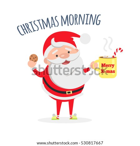 good morning santa claus with cup of coffee and tasty biscuit santas breakfast