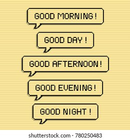 Good morning speech bubble pixel art design concept, day, afternoon, evening and night.