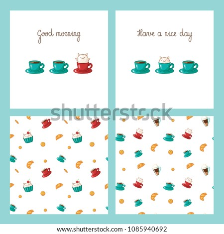 good morning templates lettering cups coffee stock vector royalty