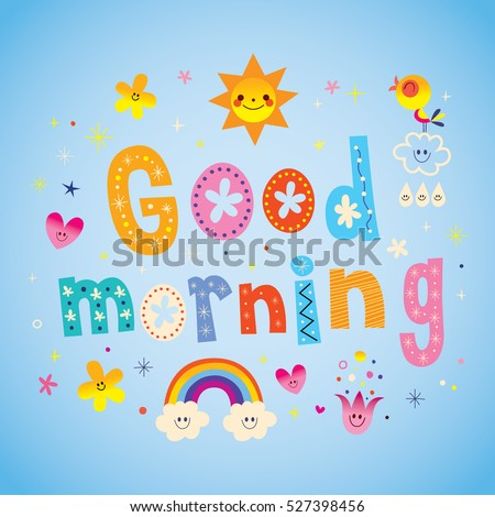 Good Morning Unique Lettering Design Cute Stock Vector Royalty Free
