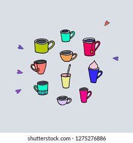 Good Morning. Vector coffee and tea set.
