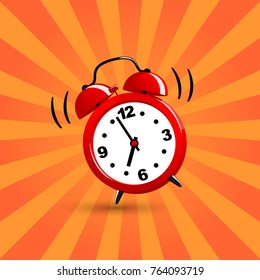 Good morning. Vector illustration. Alarm clock red wake-up time.