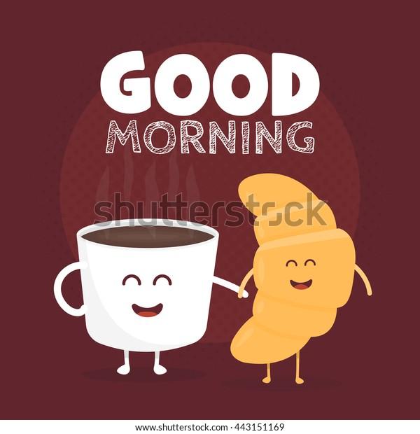 Guten Morgen Vektorgrafik Hübsches Süßes Croissant Stock