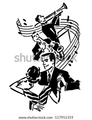Good Music Dancing Retro Clipart Illustration Stock Vector Royalty