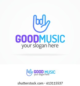 Good music logo set modern color style with hand isolated on white background for use music store, sound company, audio system shop, dj market etc. Vector Illustration
