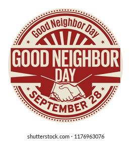 Good Neighbor Day, September 28, rubber stamp, vector Illustration