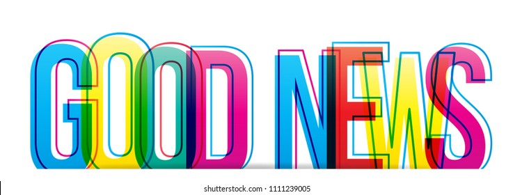 Good news colorful text.