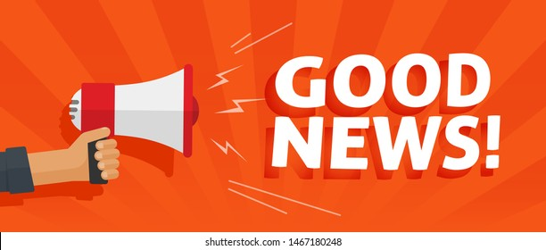 Good news information alert from hand with megaphone or loudspeaker vector illustration, flat cartoon announce notification banner horizontal sign