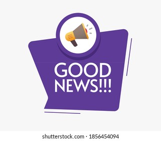 Good news message announcement vector icon with megaphone loudspeaker bubble speech notice illustration flat cartoon