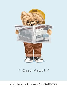 good news slogan with bear doll reading newspaper illustration