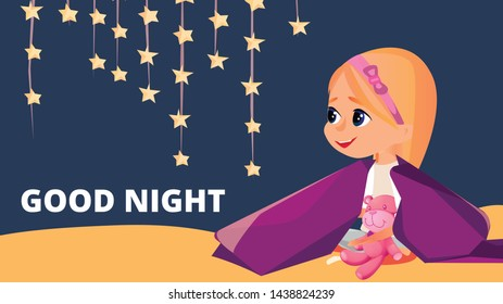 Good Night Banner. Cartoon Girl in Pajamas with Teddy Bear Sit in Blanket Vector Illustration. Cute Kid in Sleepwear in Bed. Child Pyjamas Party Sleepover. Bedroom Nursery. Sleepwear Clothes