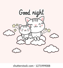 Good night card .Cute cats on the cloud vector illustration