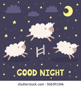Good night card with the cute sheep jumping over a fence. Sweet dreams background. Vector illustration