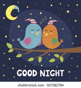 Good night card with cute sleeping birds. Vector illustration