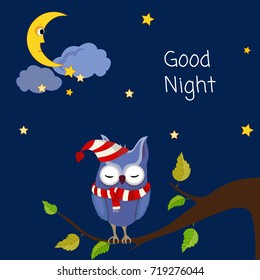 Good night. Card with cute sleeping owl. Vector illustration.