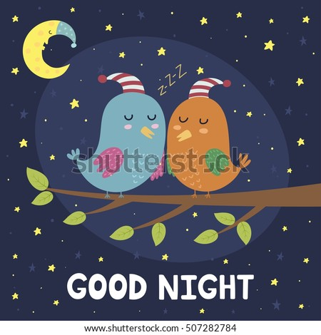 good night card cute sleeping birds のベクター画像素材