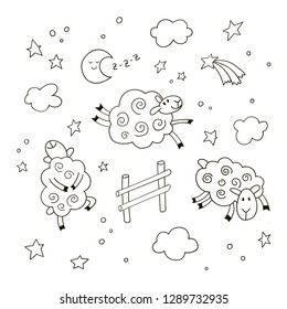Good night cartoon background for kids. Hand drawn doodle cute sheep jumping over the fence in the night sky.