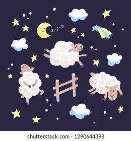 Good night cartoon illustration for kids. Hand drawn cute sheep jumping over the fence in the night sky.