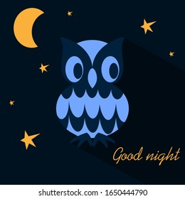 Good night. Cute Owl, Moon and stars against the night sky. Vector