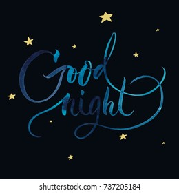 Good Night Greeting Card Poster Print Vector Typographical Background With Hand Drawn Watercolor