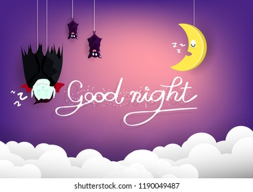 Good night, Halloween concept, vampire and bats sleeping with moon on sky cartoon puppet characters, poster card abstract background vector illustration