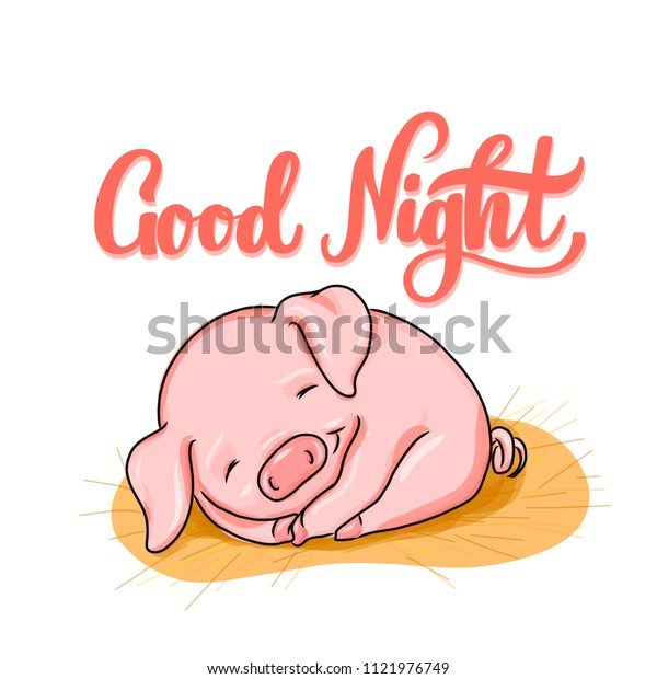 Good Night Hand Lettering Sleeping Baby Stock Vector Royalty Free 1121976749