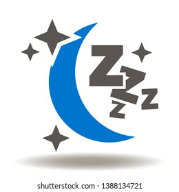 Good Night Icon Vector. Sleep Logo. Moon sky stars z-z-z health sleep illustration.