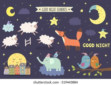 Good night isolated elements for your design. Sweet dreams clipart collection. Vector illustration