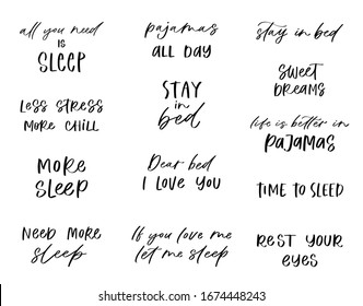 Good night lettering set. Sleep modern brush calligraphy phrases or quotes. Sweet cute hand drawn inspiration typography. Postcard poster graphic design element. Hand written sign vector Illustration