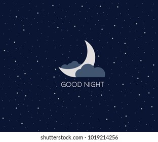 Good night logo. Conceptual idea. Vector Illustration eps8