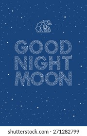 Good night moon vector poster for kids room