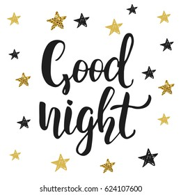 """Good night"". Poster with modern hand lettering and cute little stars"