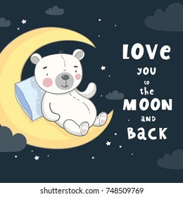 Good night print with cute bear and lettering