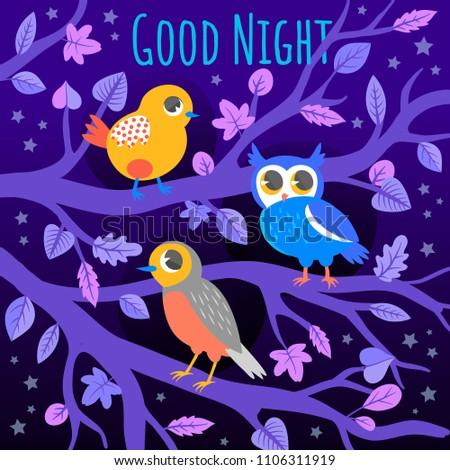 Good Night Purple Card Illustration Birds Stock Vector Royalty Free