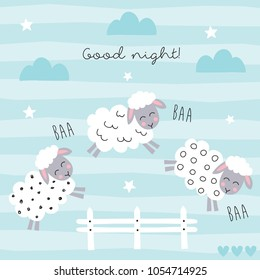 good night sleep cartoon sheep jump fence