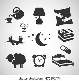 Good night - sleep icon set vector