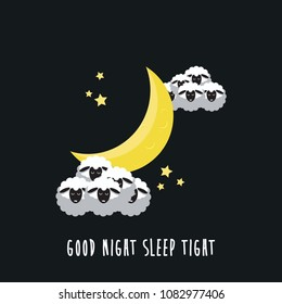 good night sleep tight sheep sleep and the moon vector illustration