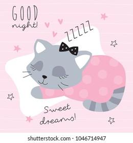 good night sleeping cat vector illustration
