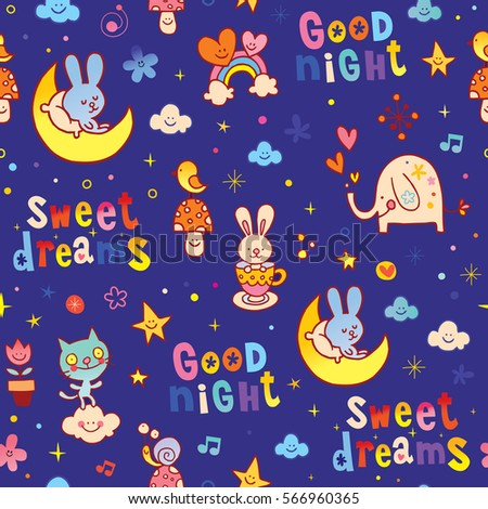 Good Night Sweet Dreams Kids Seamless Stock Vector Royalty Free