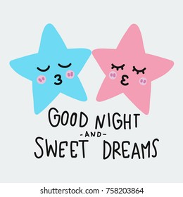 Good night and sweet dreams star kissing cartoon vector illustration