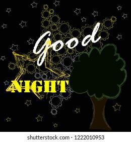 Good Night Sweet Dreams Night Scene Moonstar Stock Vector Royalty