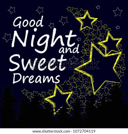 Good Night Sweet Dreams Night Scene Moon Stock Vector Royalty Free