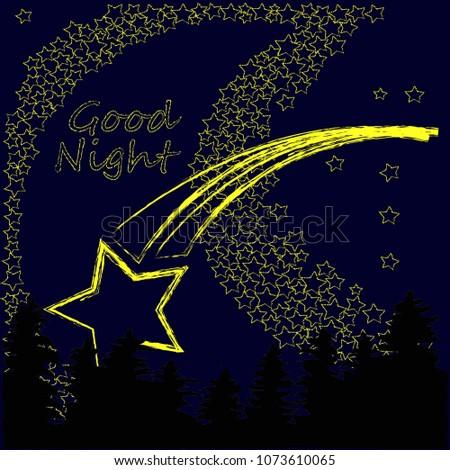 Good Night Sweet Dreams Night Scene Moon Stock Vector