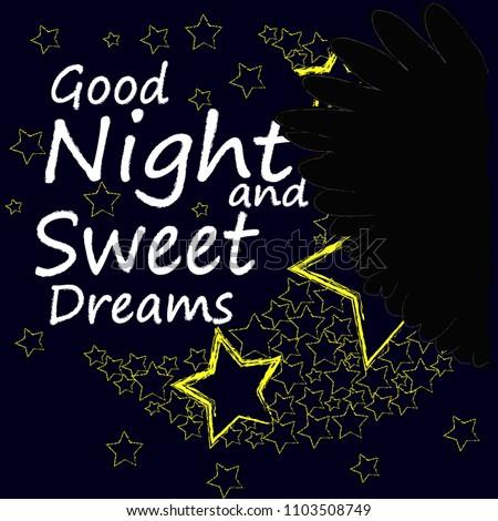 Good Night Sweet Dreams Night Scene Moonstars Stock Vector Royalty