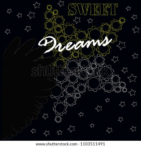 Good Night Sweet Dreams Night Scene Stars Stock Vector Royalty Free