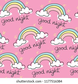 Good night text with star and cloud drawings seamless repeating pattern texture / Vector illustration design for fashion fabrics, textile graphics, wallpapers and other uses