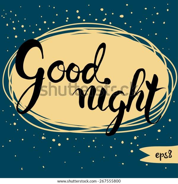 Good Night Word Written Calligraphy Style Stock Vector