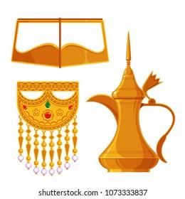 the good old days , traditional heritage items in Arab gulf countries ( United Arab Emirates UAE  Saudi Arabia ksa  Bahrain  Kuwait Qatar and Oman )  Ramadan kareem isolated vector