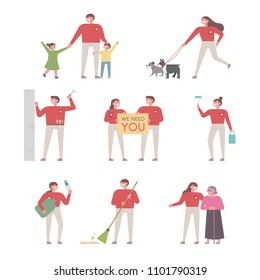Good people characters who do various volunteer activities for social welfare. flat design style vector graphic illustration set