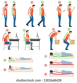 Good posture. Correct and incorrect human poses. Neutral spine. Man standing, walking, looking at a smartphone, sitting at a computer, lifting object, lying on back and on side. Vector illustration